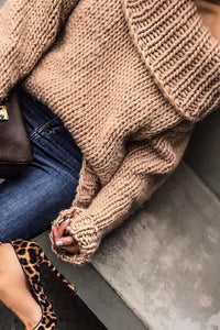 Fashion Casual Solid Color Loose Off Shoulder Knit Sweater
