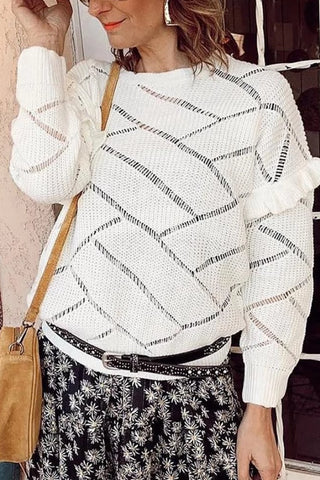 Cute Round Neck Hollow Out Sweater