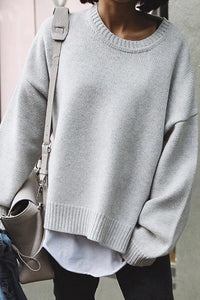 Casual Round Neck Solid Color Stitching Loose Sweater