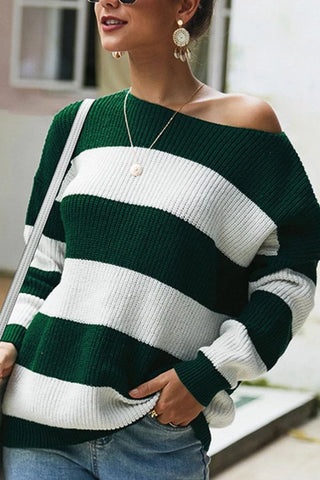 Casual Loose Round Neck Long Sleeves Striped Sweater