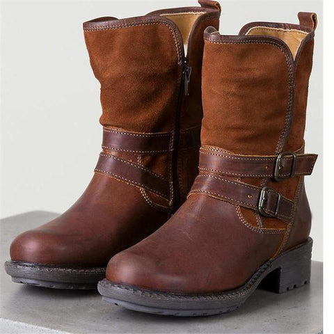 Autumn And Winter New Low-Heeled Side With Students Wild Boots 40-43Women's Boots