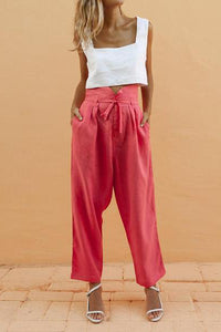 Square Collar Umbilical Short T& Design Trousers two piece set