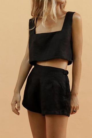 Square Collar Vest Navel Shorts Suit Two piece set
