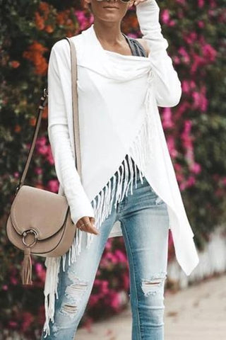 Casual Solid Color Classic Fringed Slash In The Long Cardigan