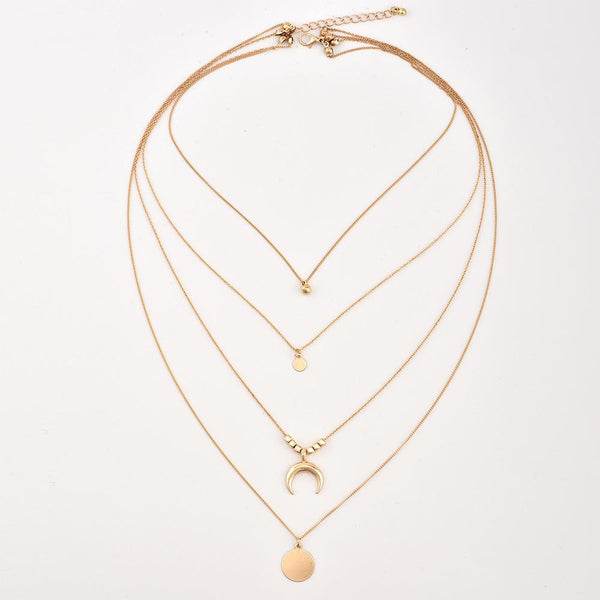Fashion Personality Multi-Layer Moon Round Pendant Necklace