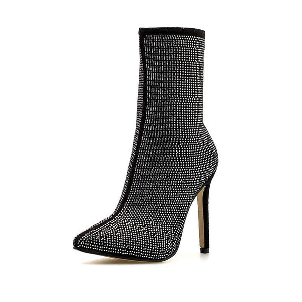 New Women's Boots Large Size Pointed Rhinestone Fine Super