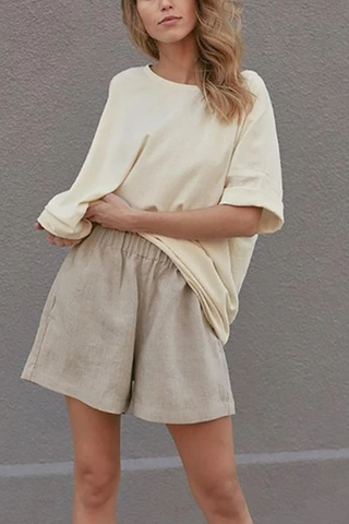 Women's Round Neck Plain Shorts Suits