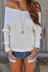 Casual One-Shoulder Solid Color Long-Sleeved Slim Sweater