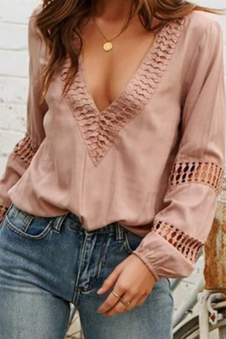 Openwork Lace Elegant Woman's Shirt