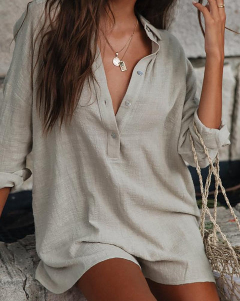V-Neck Linen Refreshing Jumpsuit Shorts