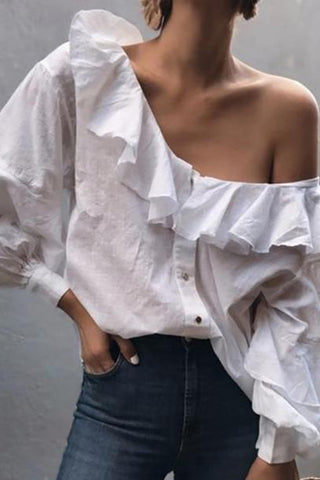 Sexy Sloping Shoulder Bubble Sleeves Single-Breasted Ruffled Splicing Blouse