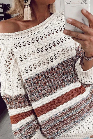 Fashion Striped Openwork Long Sleeve Pullover Sweater