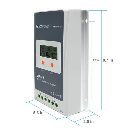 ACOPOWER 20A MPPT 100V Solar Charge Controller with LCD Display ( HY2210A)