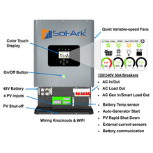Load image into Gallery viewer, Sol-Ark 12kW Hybrid All-In-One Battery Inverter (Sol-Ark-12K-P)