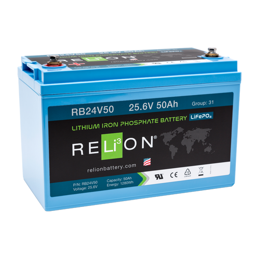 Relion RB24V50 Lithium Ion LiFePO4 Battery 24V 50Ah