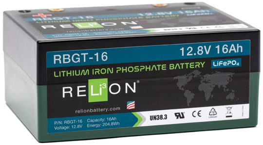 RBGT-16 Relion Lithium LiFePO4 Golf Battery With Bag & Charger 12V 16Ah