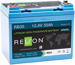 12V 35AH LIFEPO4 BATTERY, M8 Terminal Type