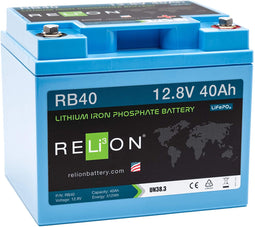 12V 40AH LIFEPO4 BATTERY, M8 Terminal Type
