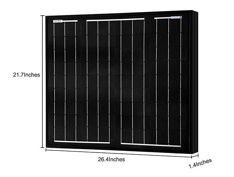 ACOPOWER 50W Mono All Black Solar Panel (HY050-12MB)