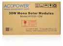 Load image into Gallery viewer, ACOPOWER 30W 12V Mono Solar Panel (HY030-12M)