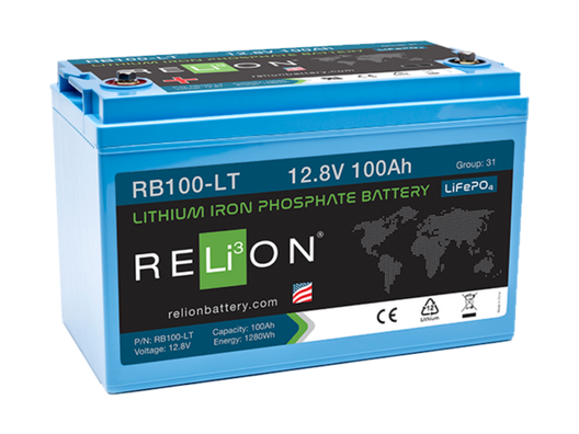 Relion RB100-LT Lithium Ion LiFePO4 Low Temperature Battery 12V 100Ah