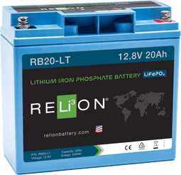 Relion RB20-LT Lithium Ion LiFePO4 Low Temperature Battery 12V 20Ah