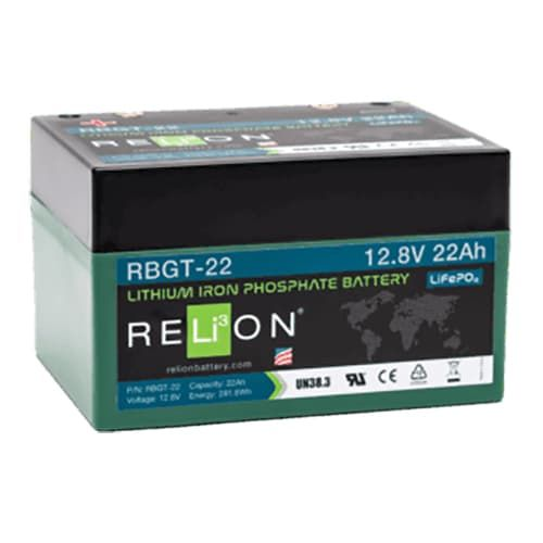 RBGT-22 Relion Lithium LiFePO4 Golf Battery With Bag & Charger 12V 22Ah