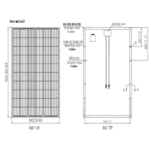 V-Sun Solar 300W Mono 60 Cell Black Solar Panel  (VSUN300-60M-BB)
