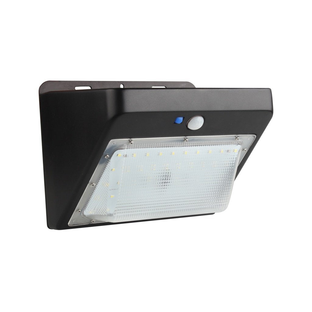 5W Solar LED Wall Pack ; 5700K ; Black - LEDMyplace