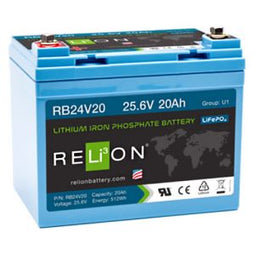 Relion RB24V20 Lithium Ion LiFePO4 Battery 24V 20Ah