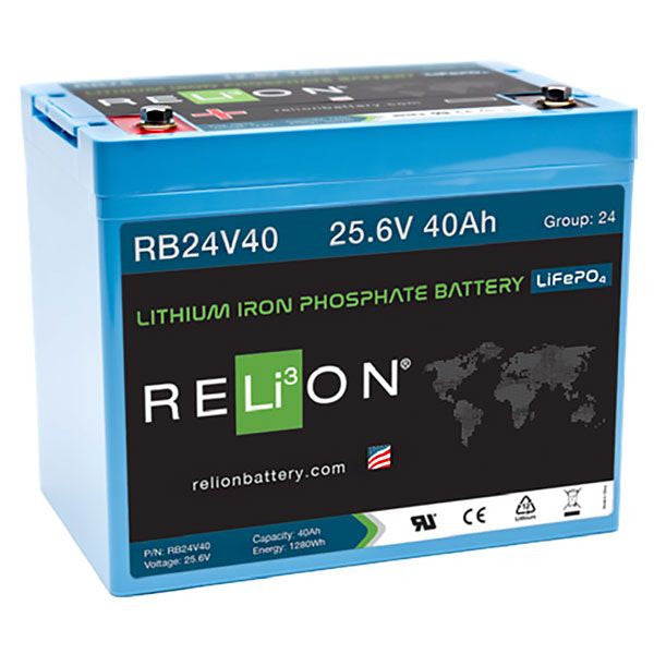 Relion RB24V40 Lithium Ion LiFePO4 Battery 24V 40Ah