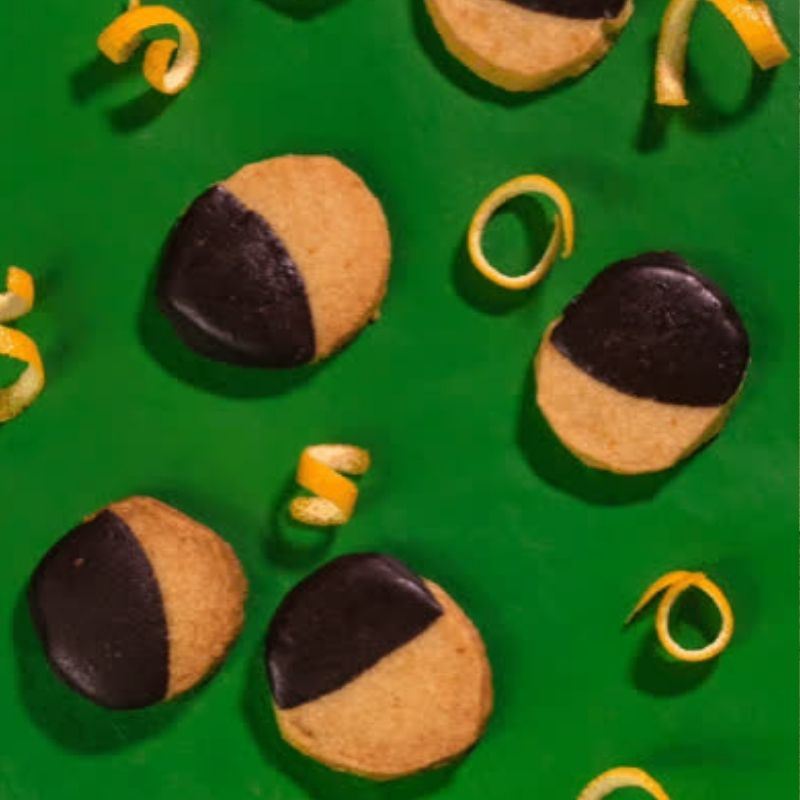 Kiya's Famous Dark Chocolate Dipped Orange Shortbread Cookies