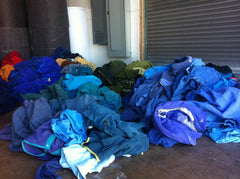 Old Patagonia jackets awaiting the wash at our factory