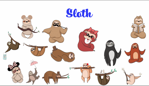 Sloth Removable reposition-able wall decal Pack