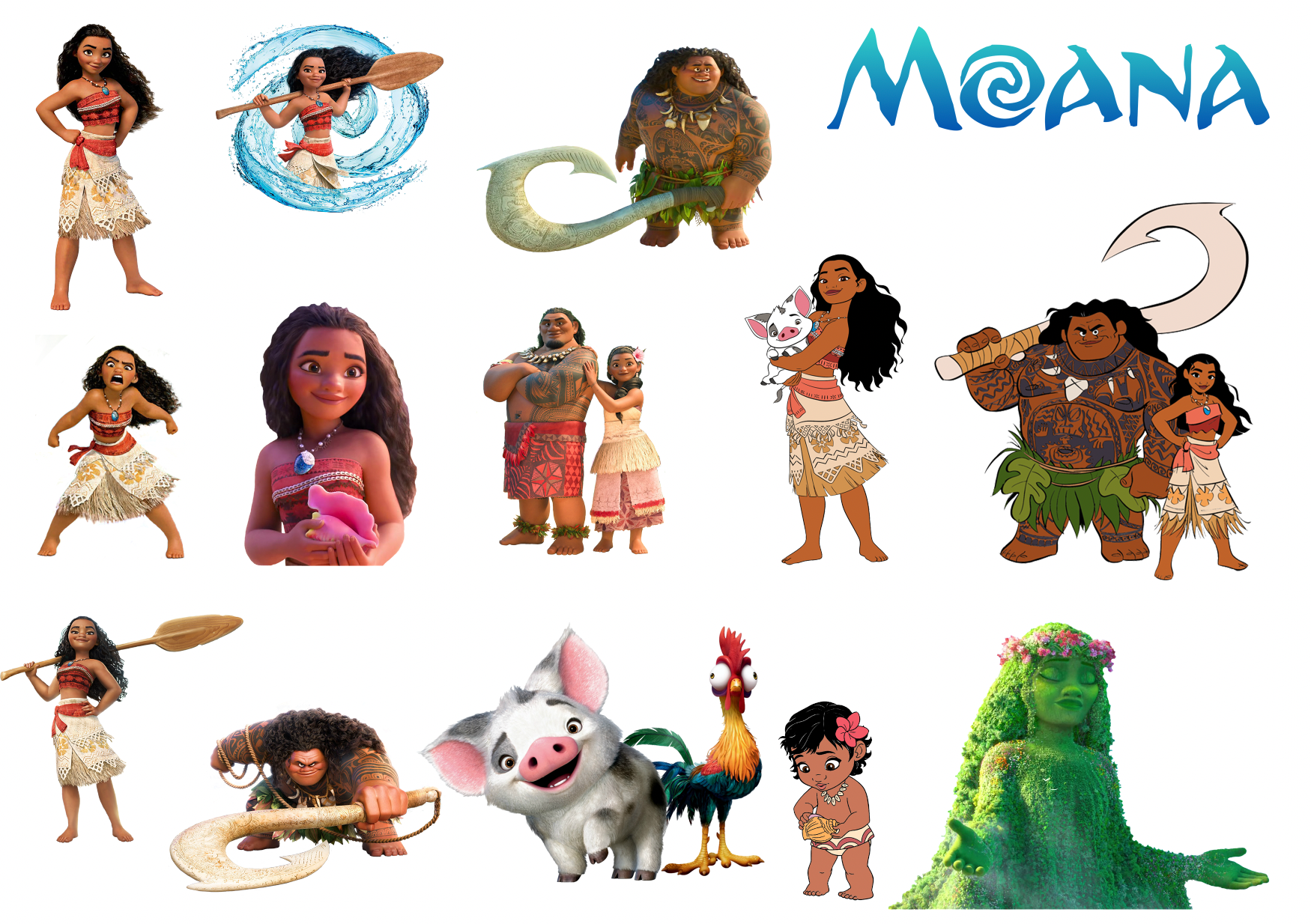 Moana Removable reposition-able wall decal Pack