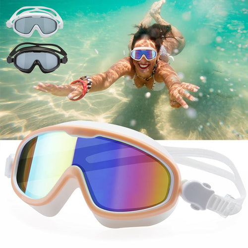 2019 New Unisex Swimming Googles Large Frame Silicone Anti-fog Colorful Plating Swimming Glasses