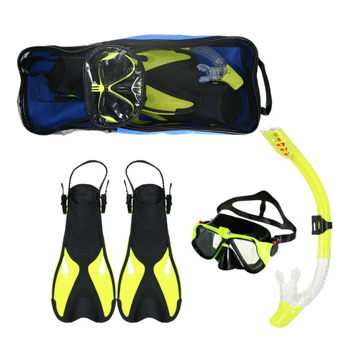 1 Set Snorkeling Google Fins Set Anti-fog Goggles Mask Snorkel Tube Fins with Gear Bag for Men Women Swimming Scuba