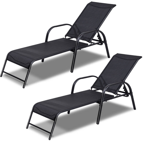 Costway Set of 2 Patio Lounge Chairs Sling Chaise Lounges Recliner Adjustable Back