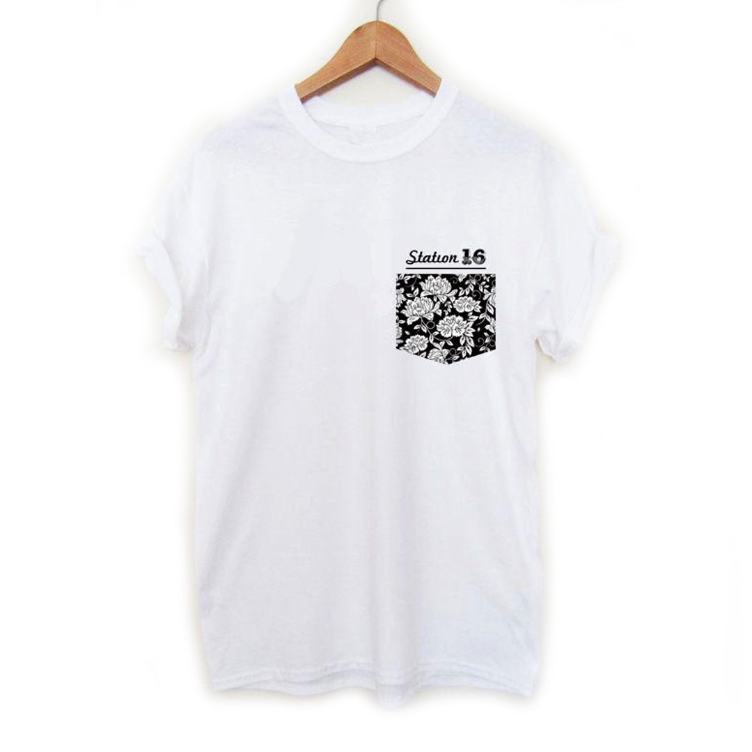 Station 16 Rose Pocket T-Shirt