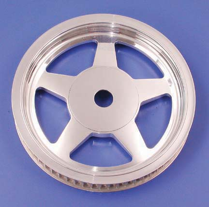 Five-Spoke Billet Rear Pulley (70 Tooth, Polished, 1999-Earlier)