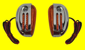 Custom Oval Marker Lamp Set (Amber, Dual Bulb, Curved Back)
