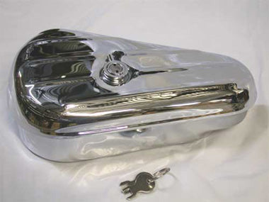 Ribbed Teardrop Toolbox for Big Twin (Left Hand Side) - Chrome