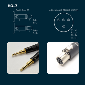 HC-7: Dual 2.5mm Mono TS Balanced Headphone Cable