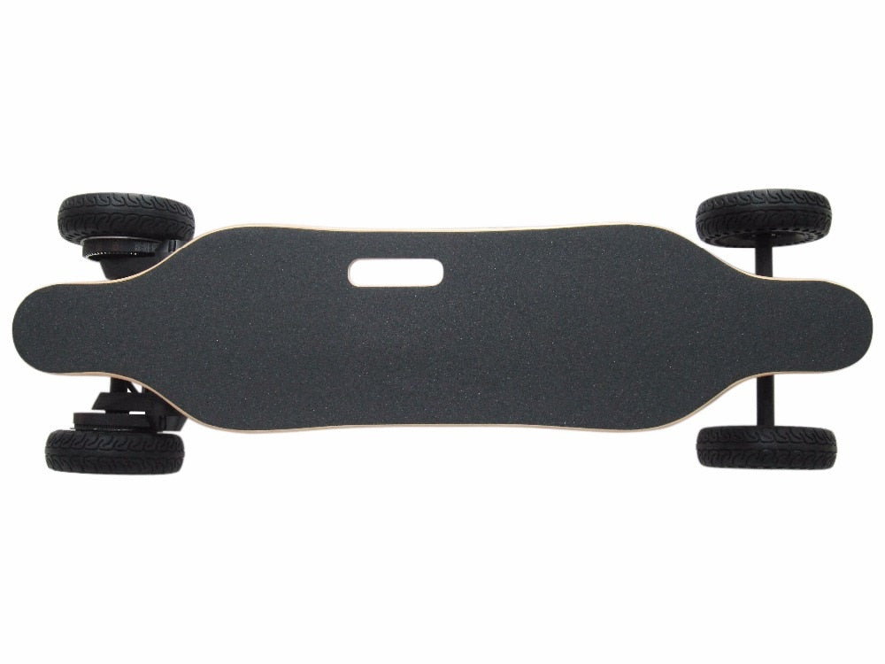 Wooden long board skateboard with on and off road wheels - EBikesNMore.com