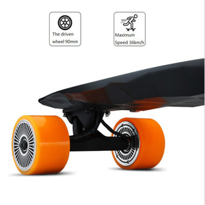 Maxfind 4 orange wheels electric skateboard with wireless remote control - EBikesNMore.com