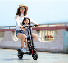 Electric foldable scooter with child seat feature - EBikesNMore.com