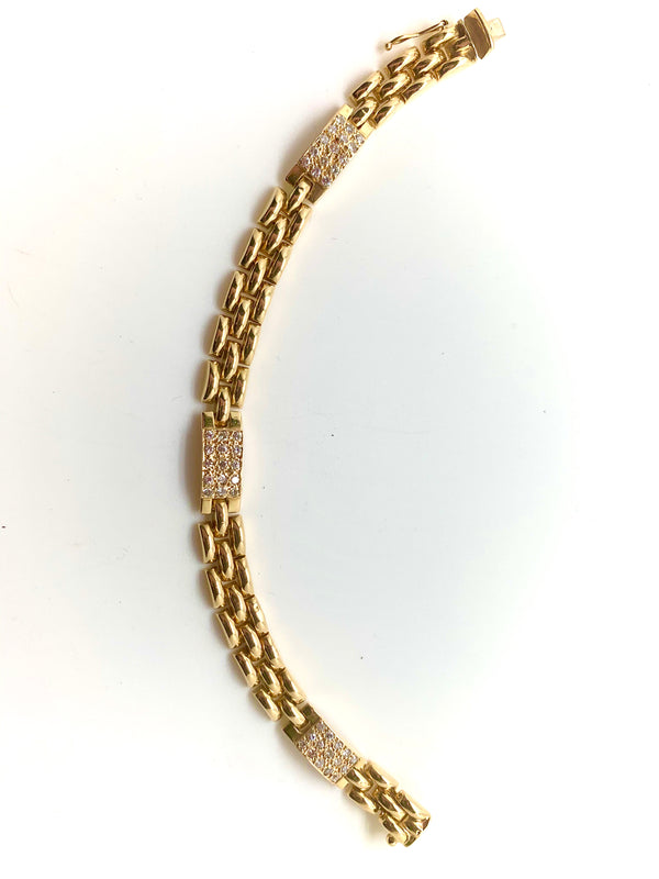 BRACELET OR 18k MAILLE PANTHERE DIAMANTS