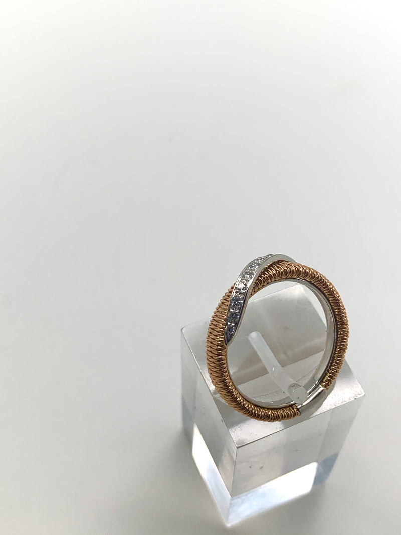 BAGUE OR ROSE PAVAGE DIAMANTS