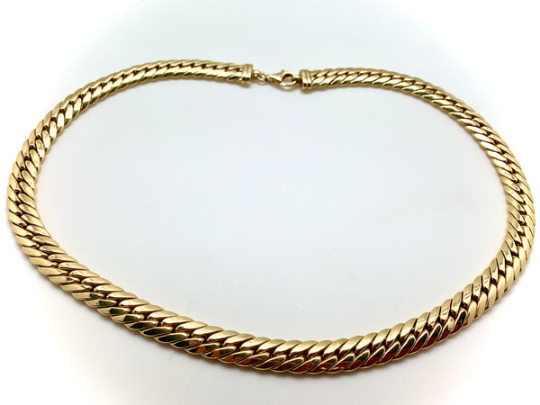 COLLIER OR 18K MAILLE PALMIER PLAT