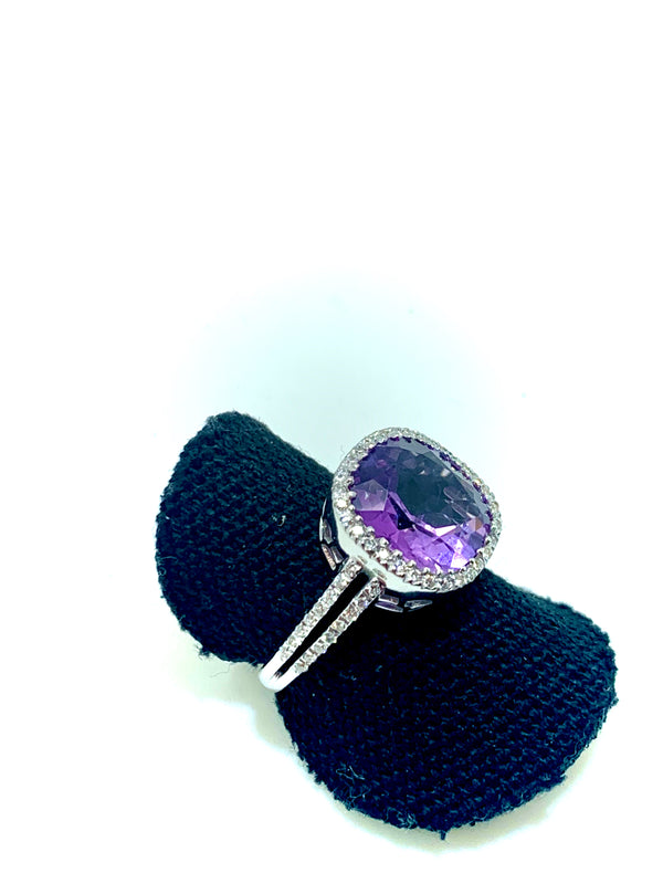 BAGUE EN OR BLANC DIAMANTS AMETHYSTE